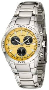 mens accurist chronograph yellow face watch mb882y