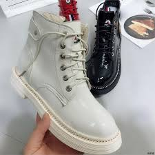 2018 new women ankle boots flat heels casual shoes female patent leather boots school style for