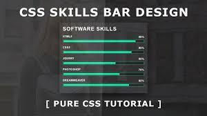 Pure Css Skills Bar Design Horizontal Bar Chart With Css Html5 Css3 Tutorial