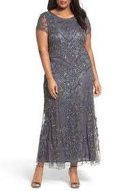 Pisarro Nights Beaded Short Sleeve Column Gown Plus Size