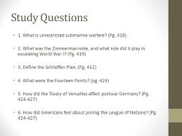 study questions what is unrestricted submarine warfare pg  1 study