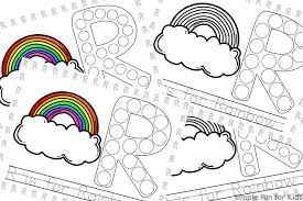Small Picture R is for Rainbow Dot Marker Coloring Pages Printable Simple Fun