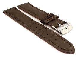 genuine nubuck leather watch strap band evosa dark brown 24mm