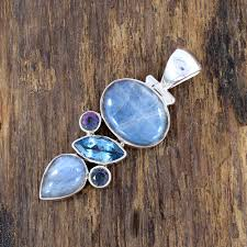 925 sterling silver pendant blue topaz pendant mystic quartz pendant labradorite pendant gemstone pendant designer pendant handmade pendant