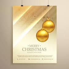 Christmas Design Template Hanging Golden Christmas Balls Decoration Flyer Design Template