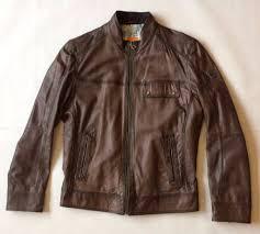 hugo boss men s brown leather jacket chest 40