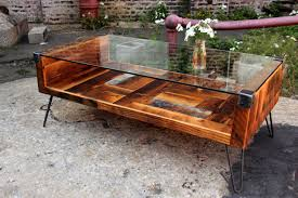 Reclaimed Wood and Tempered Glass Top Coffee Table by