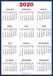 Printable Calendars 2020 With Holidays 2020 Calendar With Us Holidays Printable Free Blue