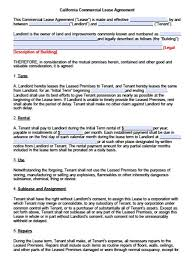 Standard Commercial Lease Agreement Commercial Lease Form Samples Free Rental Agreement Templates Pdf