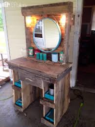 wood makeup vanity with regard to made from reclaimed wooden pallets pallet desk decor 0