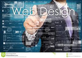 Touch Screen Web Design The Businessman Is Pressing The Button On The Touch Screen