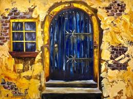 old blue door with stucco beginners acrylic painting tutorial bigartquest