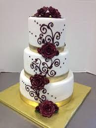 Burgundy Scroll Gold Ribbon Wedding Cake Az Cakes By