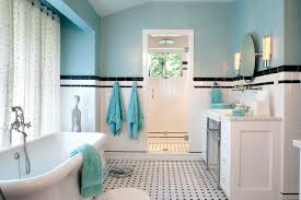 american olean tile Bathroom Traditional with aqua black and white