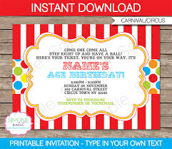 Circus Party Invitation Best Carnival Invitation Template Colorful Birthday Party Pinterest