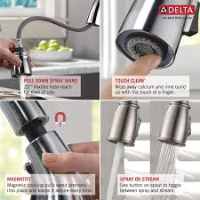 Most Reliable Kitchen Faucets Delta Cassidy Single Handle Standard Kitchen Faucet With Spray
