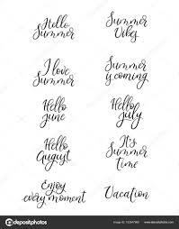 Set Of Summer Calligraphy Vacation Quotes Phrases And Words