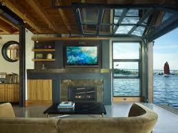 Eclectic dining room, glass garage door living room commercial ...