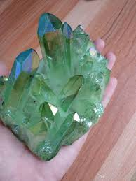 Light Green Crystal About 500g Light Green Aura Quartz Crystal Titanium Bismuth Silicon Coating Cluster Rainbows Natural Drusy Stones Minerals Party Favors For Adults