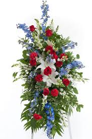 standard flower size patriotic easel spray stadium flowers