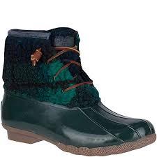 Amazon Com Sperry Womens Saltwater Cozy Plaid Rain Boot