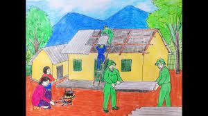 Vẽ tranh đề tài lực lượng vũ trang - vẽ tranh chú bộ đội giúp dân lợp nhà.  - Kiến thức tô màu và vẻ tranh ảnh đơn giản cho bé -