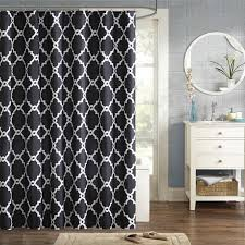 white and black patterned shower curtain to upgrade your bathroom laverick microfiber shower curtain allmodern
