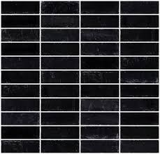 1x3 Inch Matte Black Glass Subway Tile Stacked