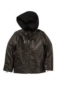 image of urban republic fleece hood faux leather jacket big boys