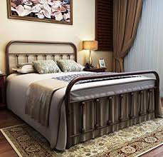 URODECOR Metal Bed Frame Full Size Headboard and Footboard with Mattress Foundation,The Vintage Style Iron Double Bed The Metal Structure,Antique ...