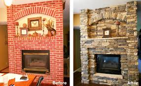 fireplace remodels before and after airstone
