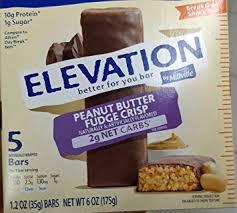 elevation by millville peanut er fudge crisp breaktime bars 1 2oz x5 bars total 6