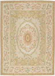 hand woven wool french aubusson flat weave light green rug