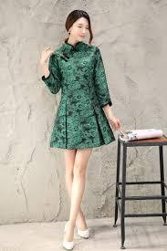 Mini Embroidery Chinese Female Dress Flare Sleeve Modern Qipao