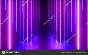 Neon Light Spectrum Endless Corridor With Neon Lines Tending Down Metal