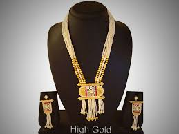 a3 ethnic white red gold plated long pearl beads necklace earrings south indian jewellery set