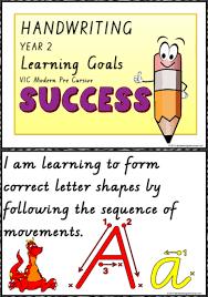 Year 2 Handwriting Visible Learning Goals Charts Vic Modern Precursive