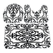damask bath set black and white bathroom rug toilet mat seat cover bathroom non slip contour rug set black white mix bath black and white damask bath rug