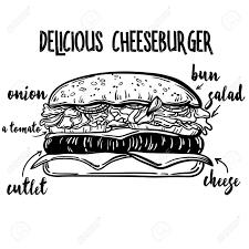 ベクトル描画胡麻お団子のイラストチーズバーガーの材料のライン アートレストランやカフェのメニ