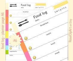eating log food log a6 instant download printable food tracker planner page commercial use allowed healthy eating journal eating disorder