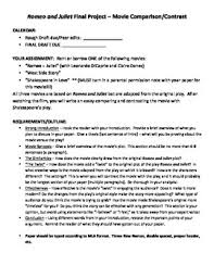 romeo and juliet movie comparison essay assignment by mrsalsny romeo and juliet movie comparison essay assignment