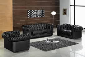 Three Piece Living Room Set Leather Ultra Modern 3 Piece Living Room Set Paris Black
