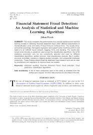 Pdf Financial Statement Fraud Detection An Analysis Of Statistical