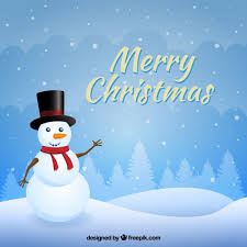 Snowy christmas background with a snowan Vector | Free Download