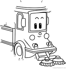Cleany Robocar Poli Dot To Dot Printable Worksheet Connect The Dots