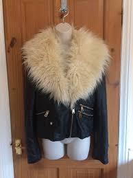 river island black biker jacket faux fur collar size 14