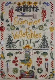 French Cross Stitch Charts Summer Vegetables A Seasonal Counted Cross Stitch Chart Chart And Key In English Or French 9 Colours Of Dmc Or Gentle Art Threads