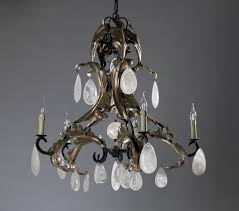 small 6 arm wrought iron and rock crystal chandelier in warm silver leaf finish
