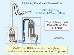 stumped by the code? requirements for identifying the high leg of 120 208 Volt 3 Phase 4 Wire fig 1 pay extra close attention when working in panelboards installed prior to 1975 120 208 volt 3 phase 4 wire