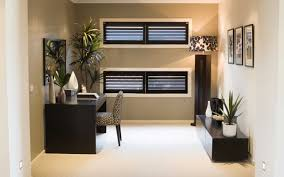 home office decor brown simple. Office:Stunning Home Office Decor With Plywood Panels And Modern Window Shades Simple But Elegant Brown E